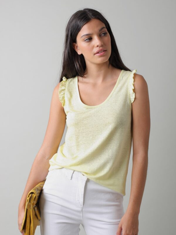 Camiseta Lino Volantes color Amarillo Indi & Cold